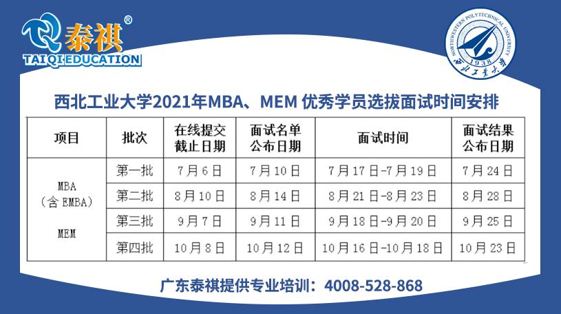 西北工业大学2021年MBA、MEM 优秀学员选拔面试通知