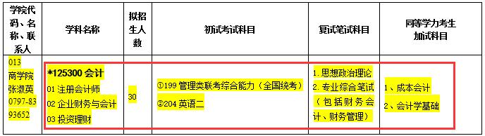 赣南师范大学2017年会计硕士MPAcc招生专业目录