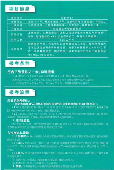 南京师范大学2018MBA招生简章