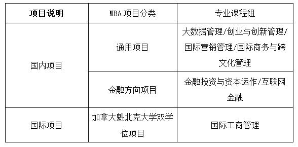 MBA项目分类