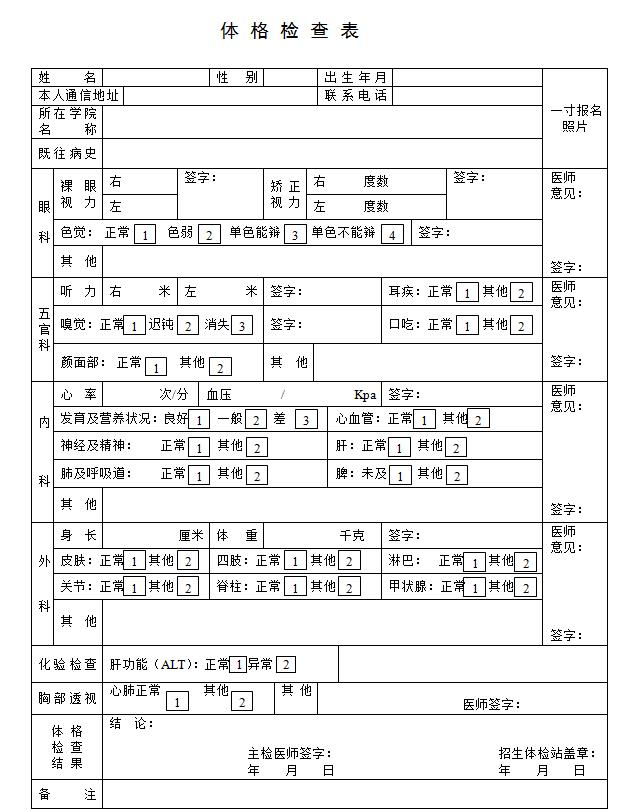 东华大学MPA体检表