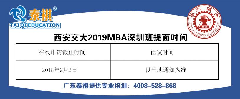 西安交通大学2019年MBA提前批面试通知