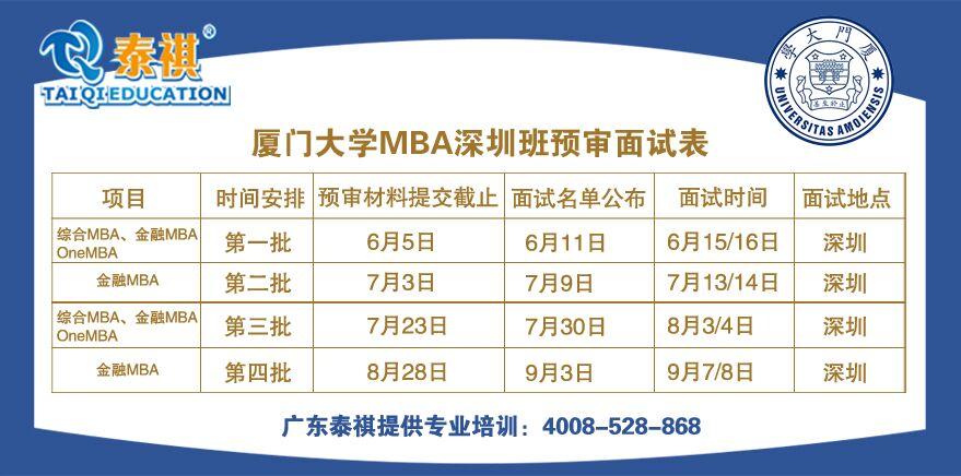 厦门大学2020年MBA(深圳)预审面试时间表发布
